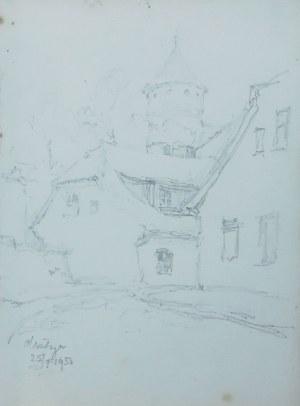 Józef Pieniążek (1888-1953), Zaułek olsztyński z wieżą Zamku Kapituły Warmińskiej, 1950