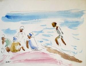 Wojciech Weiss (1875 - 1950), Kąpiel w morzu - Na plaży w Nicei II, 1925