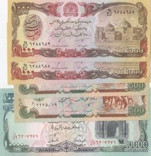 Afghanistan, 500 Afghanis (2), 1.000 Afghanis (2) and 10.000 Afghanis, 1990/1993, UNC, (Total 5 banknotes)