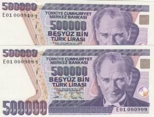Turkey, 500.000 Lira, 1994, UNC, 6/3. Emission, p208c,