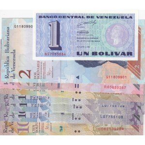 Venezuela, 1 Bolivar, 2 Bolivares, 20 Bolivares, 100 Bolivares (2) and 1000 Bolivares (3), 1989/2017, UNC, (Total 8 banknotes)
