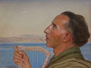 Wlastimil Hofman (1881-1970), Portret mężczyzny z harfą nad Jeziorem Tyberiadzkim (1943)