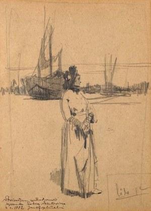 Teodor Axentowicz (1859 Braszów, Rumunia - 1938 Kraków), W porcie - praca dwustronna, 1882
