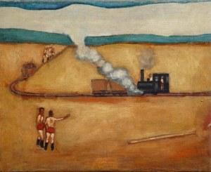 Jerzy Nowosielski (1923 Kraków - 2011 Kraków), Pejzaż z lokomotywą - praca dwustronna, 1952