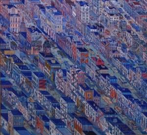 Edward Dwurnik (1943-2018), Nowy Jork, 1997, 40 x 40 cm