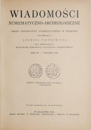Wiadomości numizmatyczno-archeologiczne, Rocznik 1933, Kraków 1934.