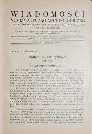 Wiadomości numizmatyczno-archeologiczne, Rocznik 1930, Kraków 1931.