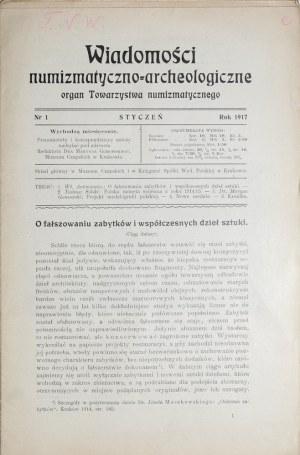 Wiadomości numizmatyczno-archeologiczne, Nr 1, styczeń, Kraków 1917.