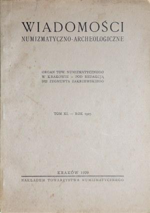 Wiadomości numizmatyczno-archeologiczne, Rocznik 1927, Kraków 1929.