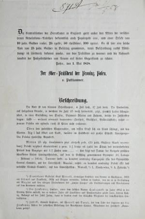 Unikatowa Publikacja!!! RRR. Ogłoszenie przestrzegające przed przyjmowaniem banknotów rewolucyjnych, Poznań 1 maja 1858.