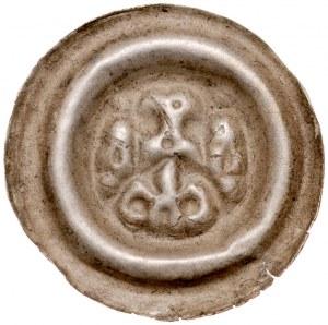 Śląsk, Brakteat szeroki XIII w., Av.: Na łuku łeb orła, pod bokach wierze, pod mim lilia.