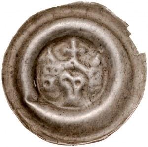 Śląsk, Brakteat szeroki XIII w., Av.: Brama, zwieńczona krzyżem, po bokach dwie wieże, pod nią łeb orła.