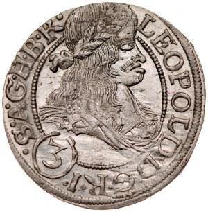 Śląsk, Leopold I 1657-1705, 3 krajcary 1667, Wrocław.