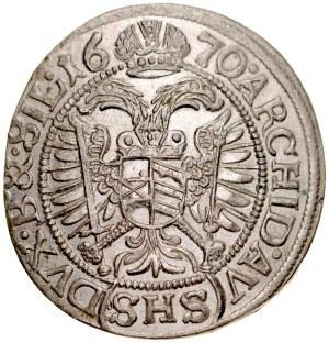 Śląsk, Leopold I 1657-1705, 3 krajcary 1670, Wrocław.