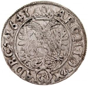 Śląsk, Ferdynand III 1637-1657, 3 krajcary 1643 MI, Wrocław.