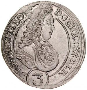 Śląsk, Księstwo Wirtembersko-Oleśnickie, Chrystian Ulryk 1668-1704, 3 krajcary 1698, Oleśnica.