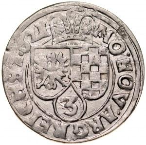 Śląsk, Księstwo Legnicko-Brzesko-Wołowskie, Jan Chrystian i Jerzy Rudolf 1603-1621, 3 krajcary 1621, Złoty Stok.