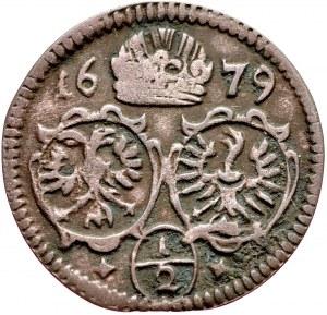 Śląsk, Leopold I 1657-1705, ½ krajcara 1679, Opole.