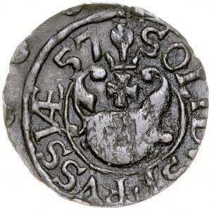 Jan II Kazimierz 1649-1668, Szeląg 1657, Elbląg, RRR.