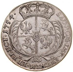 August III 1733-1763, 18 groszy 1754, Lipsk.