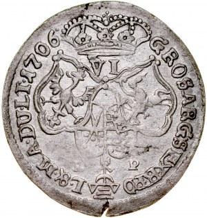 August II Mocny 1697-1733, Szóstak 1706 LP, Moskwa lub Grodno. RR