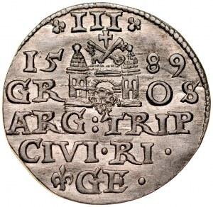Zygmunt III 1587-1632, Trojak 1589, Ryga.
