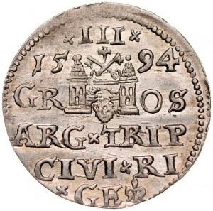 Zygmunt III 1587-1632, Trojak 1594, Ryga.
