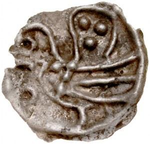 Brakteat guziczkowy II poł. XIII w., nieokreślona dzielnica, Av.: Ptak z podniesionym ogonem w lewo, RRR.