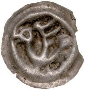 Brakteat guziczkowy II poł. XIII w., nieokreślona dzielnica, Av.: Ptak z podniesionymi skrzydłami w lewo.