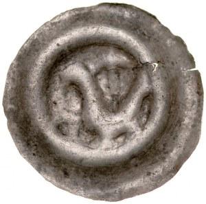 Brakteat guziczkowy II poł. XIII w., nieokreślona dzielnica , Av.: Ptak w lewo, w polu półksiężyc, nad nim lilia.