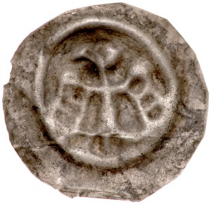 Brakteat guziczkowy II poł. XIII w., nieokreślona dzielnica, Av.: Orzeł z rozpostartymi skrzydłami.