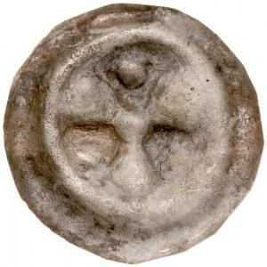 Brakteat guziczkowy II poł. XIII w., nieokreślona dzielnica, Av.: Kwiat o trzech płatkach, między nimi kulki.