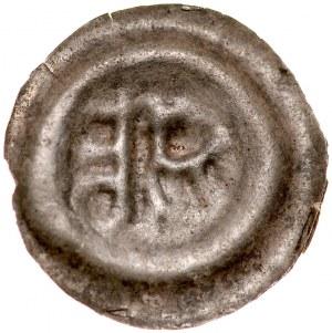 Brakteat guziczkowy II poł. XIII w., nieokreślona dzielnica, Av.: Pół orła, klucz.