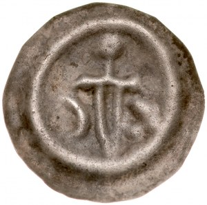 Brakteat guziczkowy II poł. XIII w., nieokreślona dzielnica, Av.: Miecz, po bokach półksiężyc i trzy kropki.