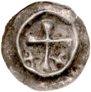 Brakteat guziczkowy, Av.: Krzyż łaciński, po bokach dwa krzyżyki.