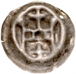 Brakteat guziczkowy, Av.: Brama, nad nią krzyż, pod nią duży krzyż, na flankach kule.