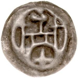 Brakteat guziczkowy, Av.: Brama, nad nią krzyż, pod nią duży krzyż, na flankach krzyże