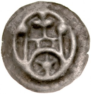 Brakteat guziczkowy, Av.: Brama, nad nią krzyż, pod nią duża gwiazda, na flankach kule.