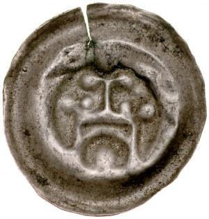 Brakteat guziczkowy, Av.: Brama, nad nią krzyż, pod nią duża kula.