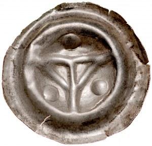 Brakteat guziczkowy II poł. XIII w., nieokreślona dzielnica, Av.: Krzyż Pański, dookoła trzy kule.