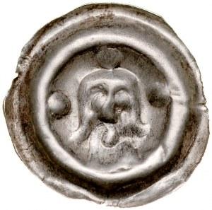 Brakteat guziczkowy II poł. XIII w., nieokreślona prowincja, Av.: Popiersie, dookoło trzy kule.