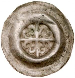 Brakteat guziczkowy II poł. XIII w., nieokreślona dzielnica, Av.: Krzyż grecki o ramionach zakończonych liliami. RRR.