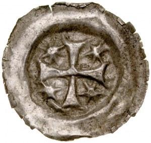 Brakteat guziczkowy II poł. XIII w., nieokreślona dzielnica, Av.: Krzyż, między ramionami krzyże.