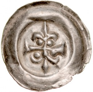 Brakteat guziczkowy II poł. XIII w., nieokreślona dzielnica, Av.: Krzyż, końce poprzeczki zakończone liliami.