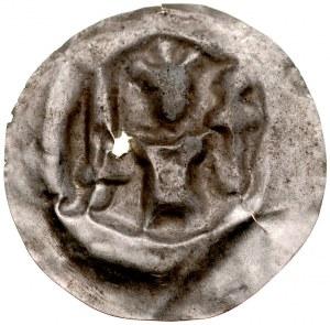 Brakteat guziczkowy II poł. XIII w., Brakteat guziczkowy, nieokreślona dzielnica, Av.: Stojący książę trzyma miecz i krzyż.