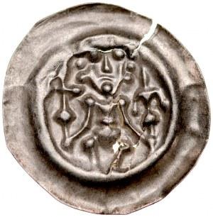 Brakteat guziczkowy II poł. XIII w., Brakteat guziczkowy, nieokreślona dzielnica, Av.: Siedzący książę trzyma krzyż i lilię.