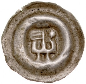 Brakteat guziczkowy II poł. XIII w., nieokreślona dzielnica, Av.: Baszta zamkowa na niej proporzec, z boku gwiazda.