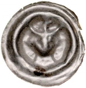 Brakteat guziczkowy II poł. XIII w., nieokreślona prowincja, Av.: Głowa w koronie.