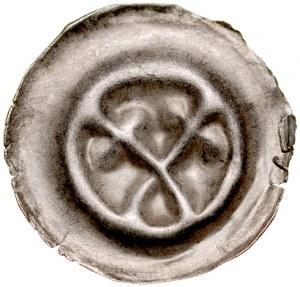 Brakteat guziczkowy II poł. XIII w., nieokreślona dzielnica, Av.: Dwie skrzyżowane gałązki zakończone trójlistkiem.