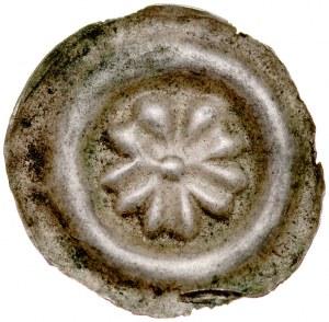 Brakteat guziczkowy II poł. XIII w., nieokreślona dzielnica, Av.: Rozeta pięciociolistna z kulą w środku.